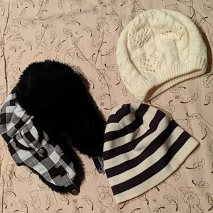 Lot of 3  Black and White Winter Hats